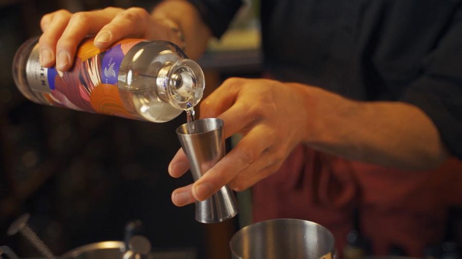 Antonio masterfully crafts his brand new cocktail Lady Dark Stone